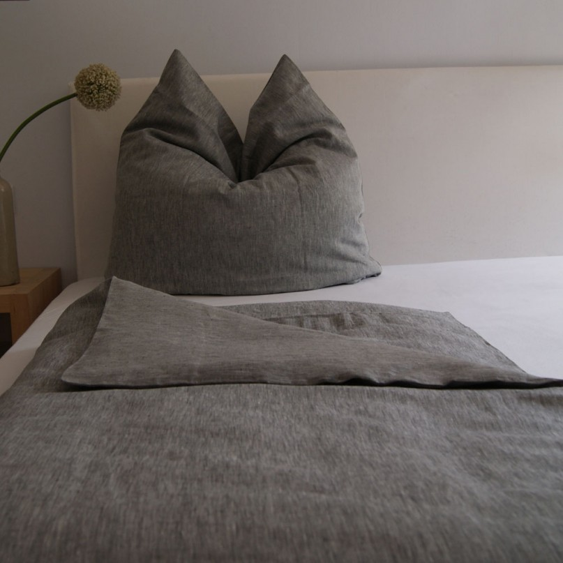 bettw scheset feines leinen farbe grau 200 x 200 cm. Black Bedroom Furniture Sets. Home Design Ideas