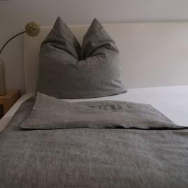 bettw scheset feines leinen farbe grau 155 x 220 cm. Black Bedroom Furniture Sets. Home Design Ideas