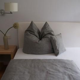 Bettwäscheset LEINEN fein Grau 135x200 cm-Leinen -1 Kissen 80x80 cm