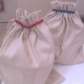 HALBLEINEN Brotbeutel Rohweiß mit blauem oder rotem Rand