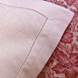 Stoffserviette aus feinem LEINEN Natur oder Weiß mit Hohlsaum