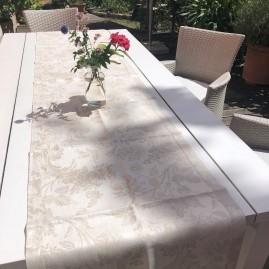 Tischläufer, LEINENDAMAST, Chrysantheme-natur_50x250 cm