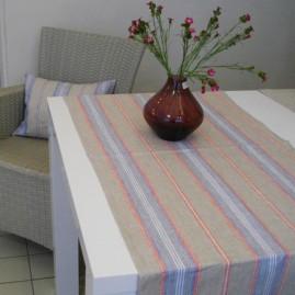 Tischläufer LEINEN gestreift Natur/Blau/Rot 50cm breit-50x250 cm