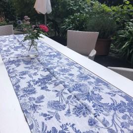 Tischläufer, LEINENDAMAST, Chrysantheme-blau_50x250 cm