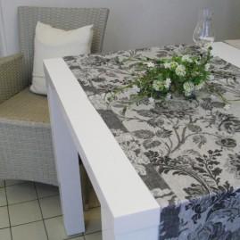 Tischläufer, LEINENDAMAST, Chrysantheme-schwarz_50x170 cm