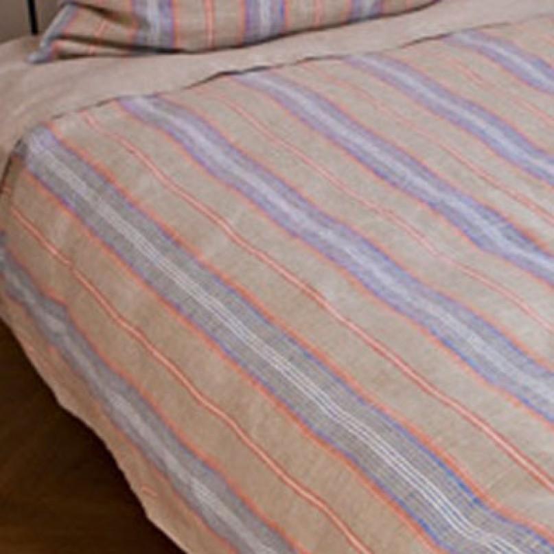 Bettbezug Oberlausitzer Leinen Mittelgrob Natur Streifen Farbig