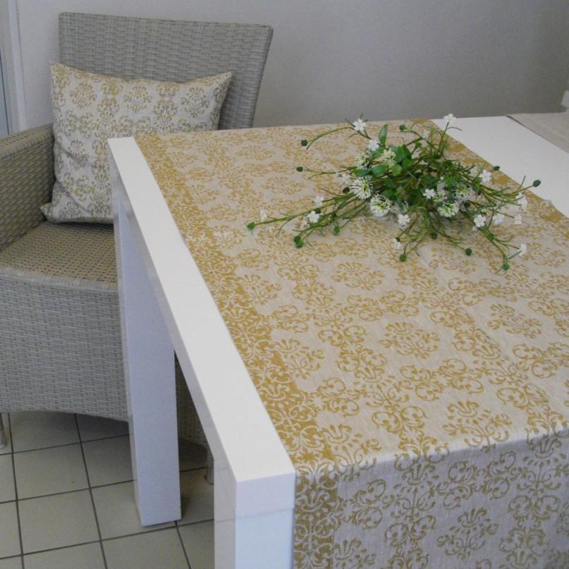 tischl ufer leinendamast ornament gold. Black Bedroom Furniture Sets. Home Design Ideas
