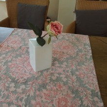 Tischläufer Leinen BAUERNDAMAST 150 x 50 cm Blume Dunkelgrau/Rot