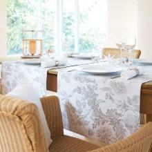 Tischläufer, LEINENDAMAST, Chrysantheme-Salbei-50x250 cm