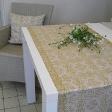 Tischläufer LEINENDAMAST Ornament Gold 50 cm breit