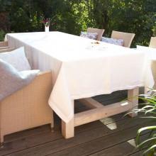 LEINEN Tischdecke Weiß mit Rahmensaum versch. Größen